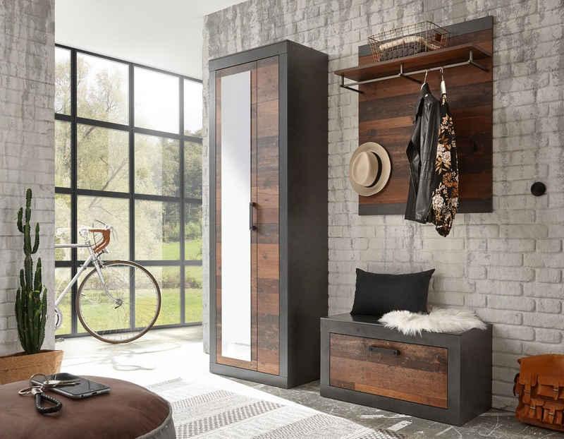 Home affaire Garderoben-Set »BROOKLYN«, (Komplett-Set, 3-St., bestehend aus Garderobenschrank mit Spiegel, Garderobenbank und -paneel), in dekorativer Rahmenoptik