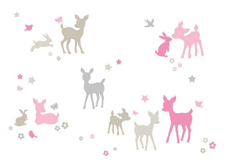 lovely label Wandsticker »Häschen & Rehe rosa/grau/beige - Wandtattoo Kinderzimmer Baby Mädchen«