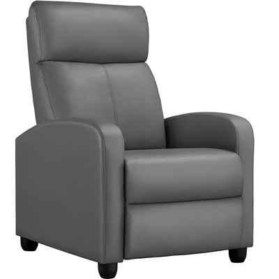 Yaheetech Relaxsessel, Fernsehsessel Ruhesessel mit Liege-Funktion und Verstellbarer Beinablage Recliner Einzelsofa Kunstleder