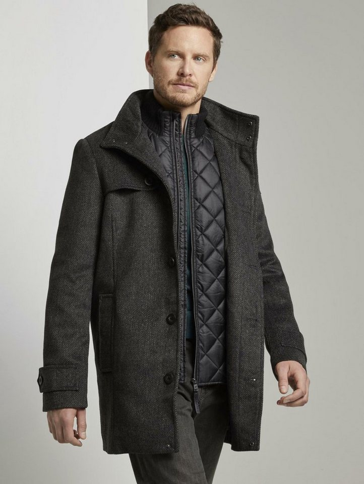 tom tailor -  Wollmantel »Stehkragen Mantel aus Wollmischung«