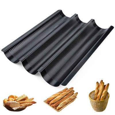 Homewit Baguetteblech »Bestehend aus Kohlenstoffstahl und Antihaftbeschichtung, Geeignet für Küchen, Bäckereien und Restaurants«, Kohlenstoffstahl, (1-St., 38,5*28,5*3,5 cm Brot Backform, 3 Brotrillen), Material ist Kohlenstoffstahl, Mit Antihaftbeschichtung, Korrosions- und Rostschutz, Langzeitanwendung.