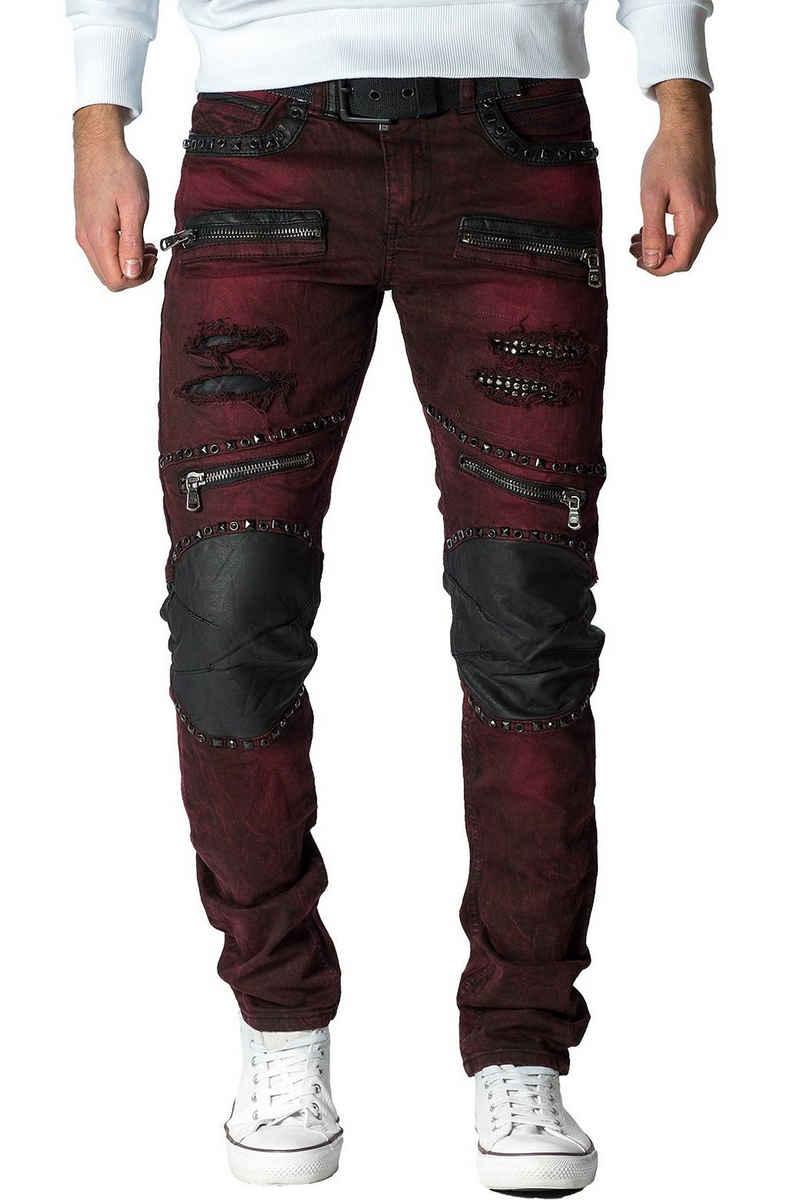 Cipo & Baxx Bikerjeans »BA-CD481 Regular Fit Freizeithose extravagant« Biker Jeans mit Kunstleder Merkmalen, destroyed Effekten, Strasssteinen und zusätzlichen Reißverschlüssen