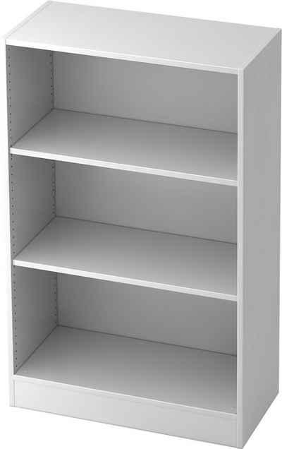 bümö Aktenregal »OM-6500«, Büroregal, Bücherregal, Regal für Ordner, Akten & Bücher mit 3 Ordnerhöhen - Dekor: Weiß