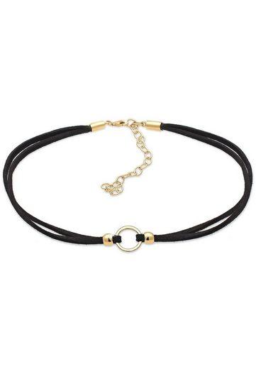 Elli Collier »Halsband schwarz Choker mit Kreis 925 Silber«