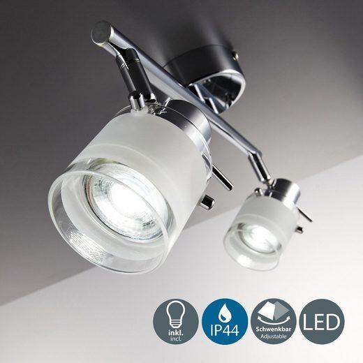 B.K.Licht LED Deckenleuchte  mit Glaslampenschirm GU10 IP44