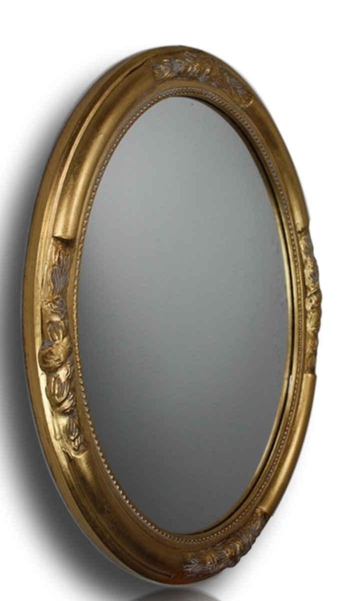 elbmöbel Wandspiegel »Wandspiegel Oval gold Holz«, Wandspiegel: Spiegel Oval 57x47x5 cm gold elegant Landhaus Barockrahmen