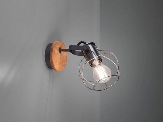 meineWunschleuchte LED Wandstrahler, innen, Holz-Leuchte mit Lampen-Schirm Draht, Coole Gitter-Lampe Industrial, Lese-Lampe