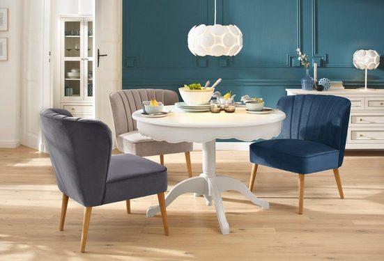 Home affaire Sessel »Narmada«, in drei verschiedenen Farben, mit schöner Raffung in der Rückenlehne, aus weichen Samt Chenille Stoff