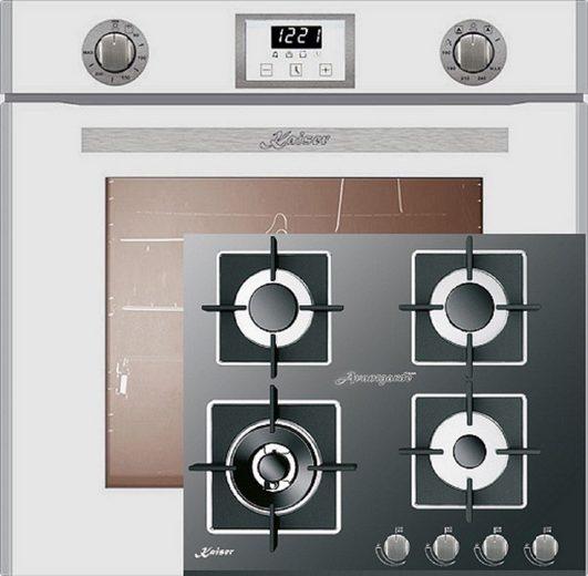 Kaiser Küchengeräte Gasherd-Set EG 6374 W + KCG 6382, Einbau-Backofen 60cm in Weiß/Gas Backofen/Gas-Kochfeld 60 cm/Autark/Drehspieß/Grill/Heißluft/Selbstreinigung/Erdgas/Propangas