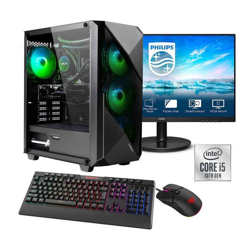 """Hyrican Striker SET02114 Gaming-PC-Komplettsystem (23,8"""", Intel Core i5, RTX 3060, 16 GB RAM, 960 GB SSD, Wasserkühlung, inklusive 24"""" Monitor Philips 241V8LA/00)"""