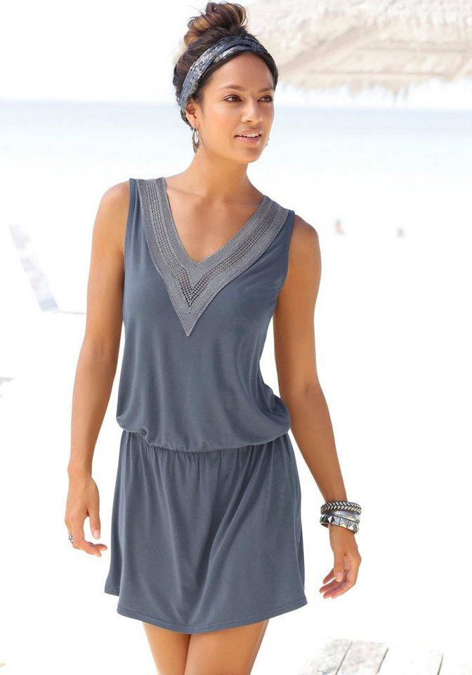 lascana -  Strandkleid mit Häkelspitze am Ausschnitt