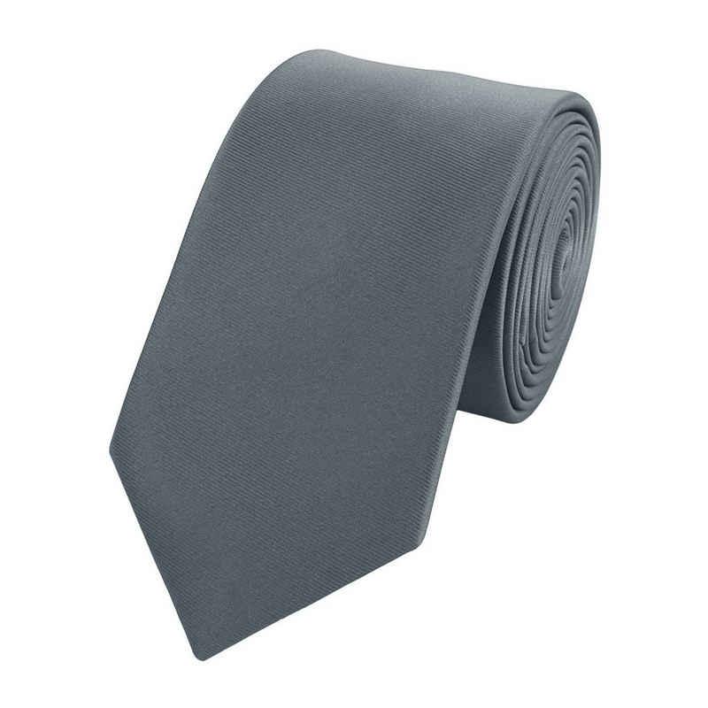 Fabio Farini Krawatte (ohne Box, Unifarben) Schmal (6cm), Grau