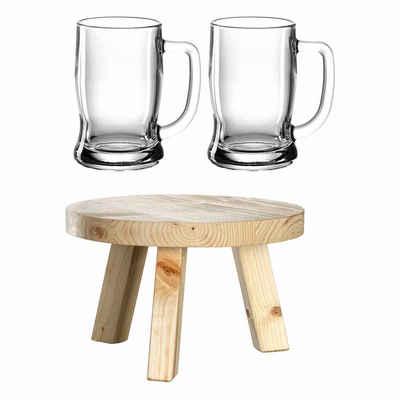 LEONARDO Bierkrug »COLORATA 2 Bierseidel Taverna + Fässchensockel«, Holz