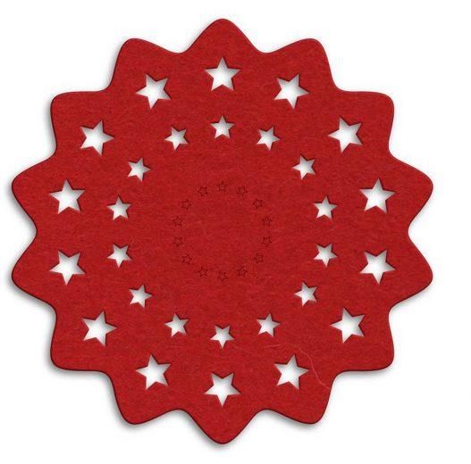 Wall-Art Tischdecke »Rote Weihnachtsbaumdecke Sterne« (1-tlg)