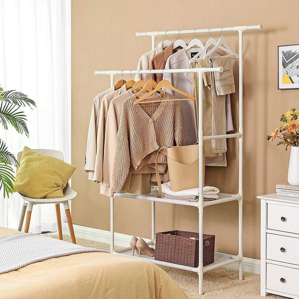 Songmics Kleiderständer »RDR15WT«, STABILITÄT IST DAS A UND O: Kleidung an  die 15 Kleiderstangen, Schuhe und Taschen auf die Ablagen im unteren Bereich