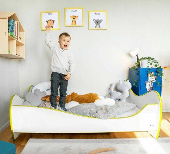 Alcube Bett »Kinderbett inkl. Lattenrost und Matratze« (Set, 2-tlg., Bett mit Lattenrost und Matratze), 70x140 cm mit Rausfallschutz, Massivholzbett