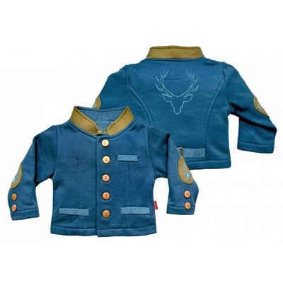 Mogo Trachtenjacke »Baby Trachtenjanker Amadeo elastische Baumwollmischung, Babyjacke im Trachtenlook, blau mit braun abgesetzt, bestickt«