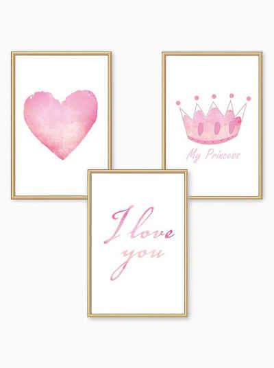 Himmelzucker Poster »DIN A4 Wandbilder für Kinderzimmer Babyzimmer Herz My Princess Bilder«, I LOVE YOU (3-teiliges Poster-Set, 3 Stück), Kinderposter für Mädchen (DIN A4 ohne Rahmen)