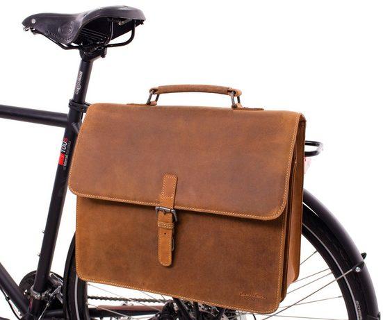 Gusti Leder Gepäckträgertasche »Peter S.«, Fahrradtasche Aktentasche Lehrertasche Bürotasche Arbeitstasche