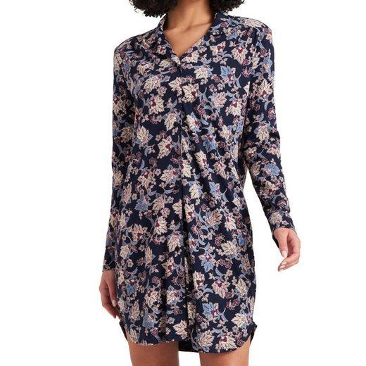 Schiesser Nachthemd »Feminine Floral Comfort Fit« Nachthemd 100 cm - Lockere Passform, Durchgängige Knopfleiste und Reverskragen, Feine, weiche Interlock-Qualität