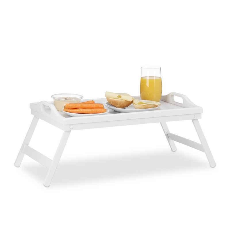relaxdays Tabletttisch »Klappbares Betttablett weiß«