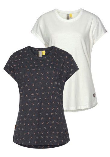 Alife & Kickin T-Shirt »MollyAK« (2er-Pack) sommerliches Shirt im Doppelpack- 1xUni & 1x Alloverprint