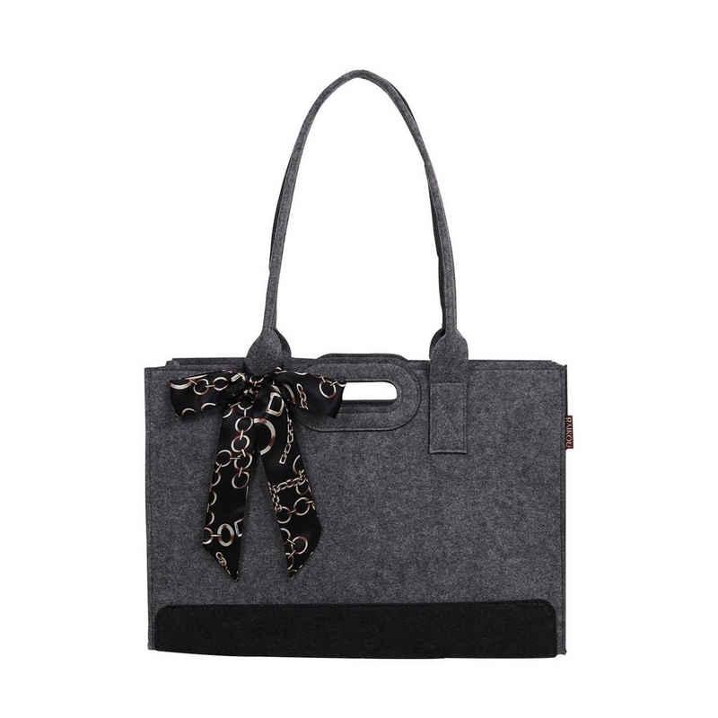 RAIKOU Einkaufskorb »Filztasche mit dekorativem Seidenschal Shopper 44x15x30cm« (shopper), mit abnehmbarer Innentasche