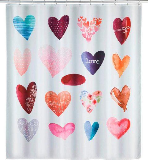 WENKO Duschvorhang »Love« Breite 180 cm, Höhe 200 cm, Polyester, waschbar