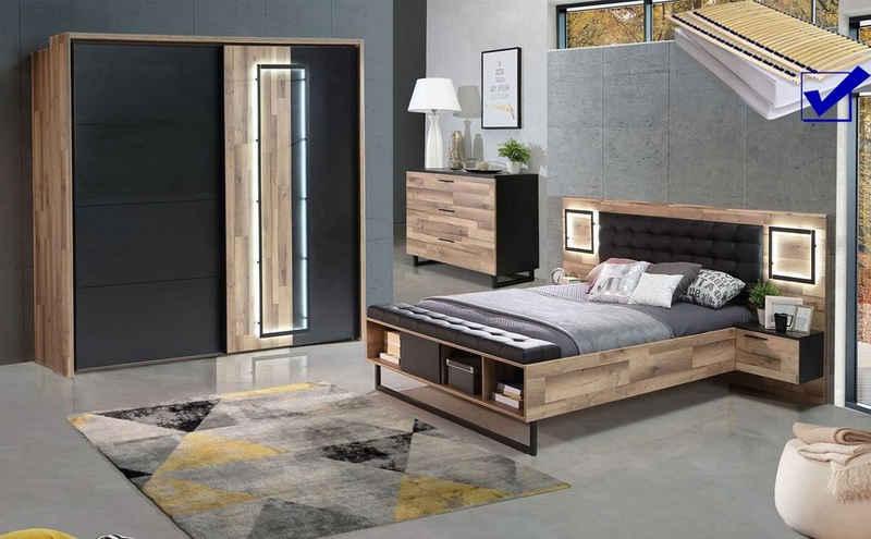 expendio Schlafzimmer-Set »Samu 12«, (Spar-Set, 7-St), Stabeiche / Schwarzeiche Nb. inkl. Lattenrost und Matratze mit LED-Beleuchtung