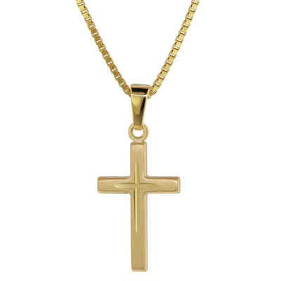trendor Kette mit Anhänger »Kreuz-Anhänger für Gold 585 (14 Kt) + Plattierte Kette«