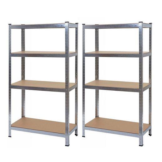 MCW Schwerlastregal »MCW-D67-2«, Set, Stecksystem, 4 Böden pro Regal, Ebenenhöhe kann individuell festgelegt werden
