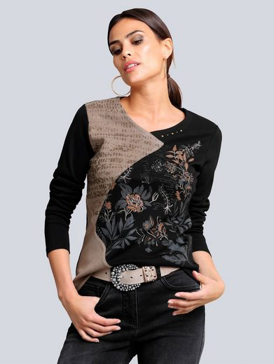 Alba Moda Print-Shirt in modischer Patch-Optik
