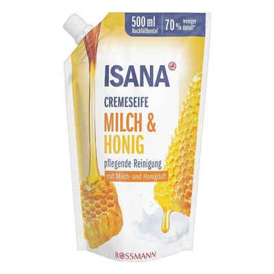 ISANA Flüssigseife »Milch & Honig«, Nachfüllbeutel, mit Softpflege-Komplex und Pflegelipid