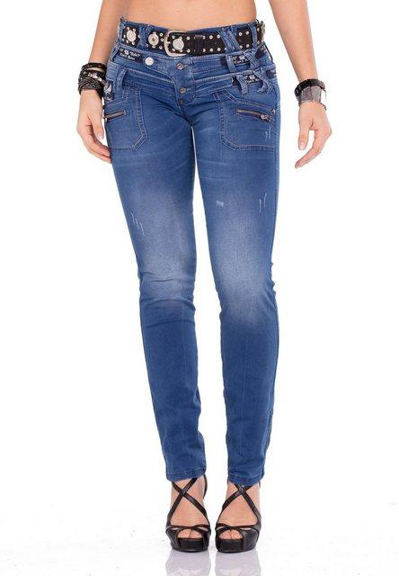 Hosen - Cipo Baxx Bequeme Jeans mit originellem Dreifachbund › schwarz  - Onlineshop OTTO