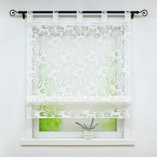 Raffrollo »Olivia«, Delien, mit Schlaufen, Ausbrenner Raffrollo mit Floral Motiv transparente Raffgardine Küche Wohzimmer Gardinenschals Weiß 1 Stück
