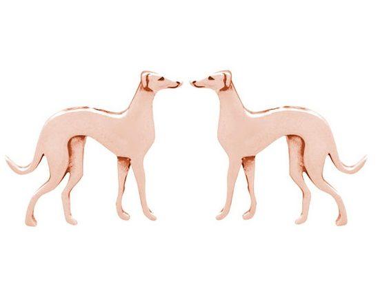 Gemshine Paar Ohrstecker »WINDHUND«, Schmuck für Tierfans Made in Spain