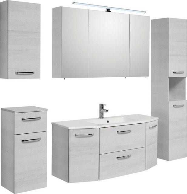 Badezimmer Sets - PELIPAL Badmöbel Set »Amora«, (Set, 5 St), Spiegelschrank inkl. LED Beleuchtung, Waschtisch Kombination mit Mineralgussbecken, Metallgriffe, Türdämpfer  - Onlineshop OTTO