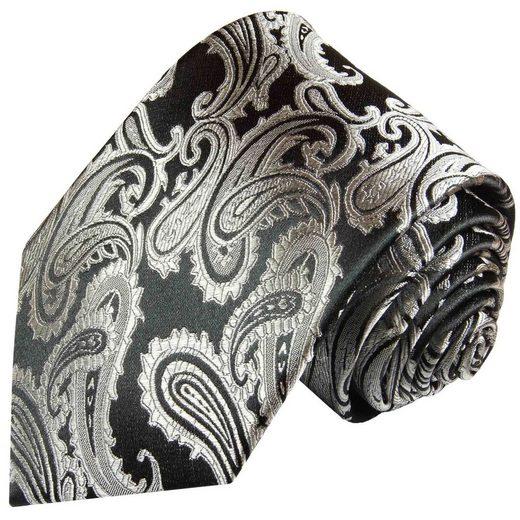 Paul Malone Krawatte »Herren Seidenkrawatte edler Schlips paisley brokat 100% Seide« Schmal (6cm), schwarz silber grau 352
