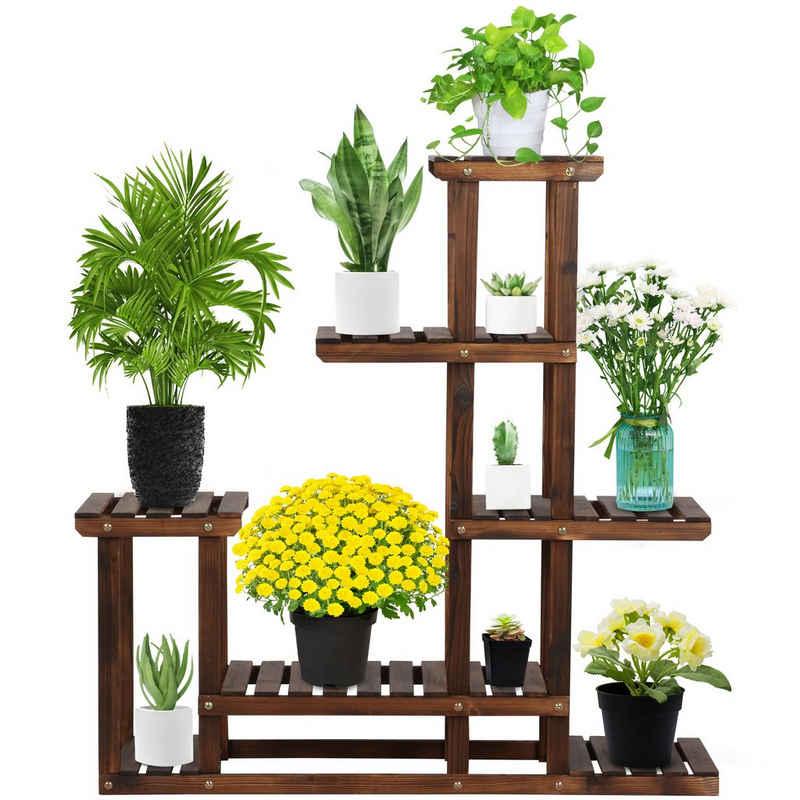 Yaheetech Blumenständer, Blumenleiter Pflanzentreppe Blumenregal Holz Regal Blumentreppe Gartenregal Leiterregal Pflanzenregal 97 x 96 x 25 cm