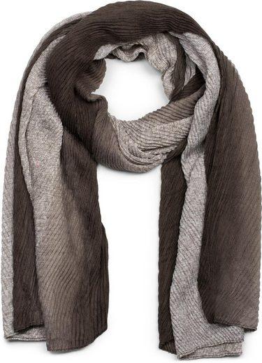 styleBREAKER Schal »Plissierter Schal mit Farbverlauf Gitter Muster« Plissierter Schal mit Farbverlauf Gitter Muster