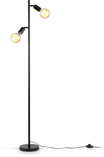B.K.Licht Stehlampe, Stehleuchte 2-flammig, E27, Schwenkbar, Retro, Fußschalter, Metall, ohne Leuchtmittel