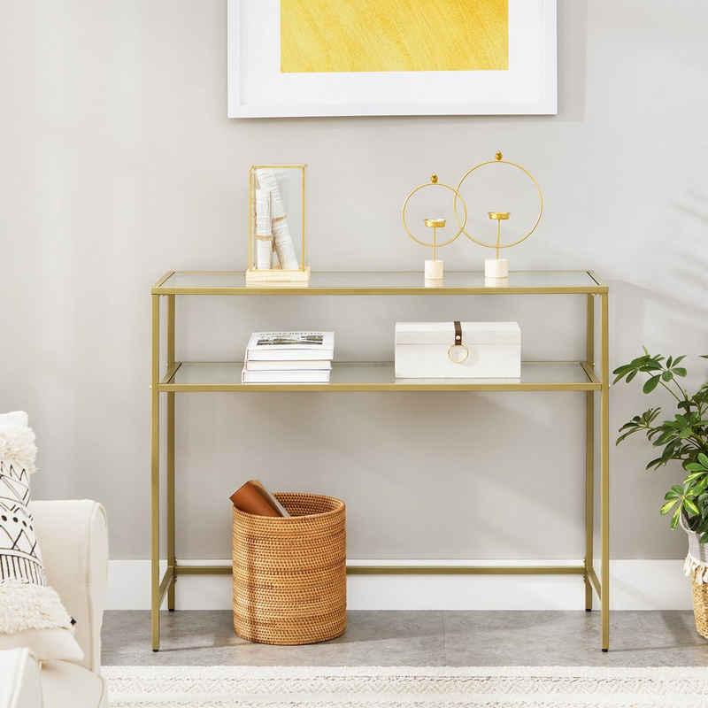 VASAGLE Konsolentisch »LGT025A01«, Beistelltisch mit 2 Ablagen, Hartglas, Metallgestell, für Wohnzimmer, Flur, goldfarben