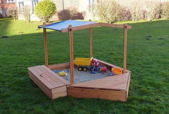 PROMADINO Sandkasten »MULTI«, BxL: 260x172 cm, mit Bugbox, Sitzbox + Sonnendach