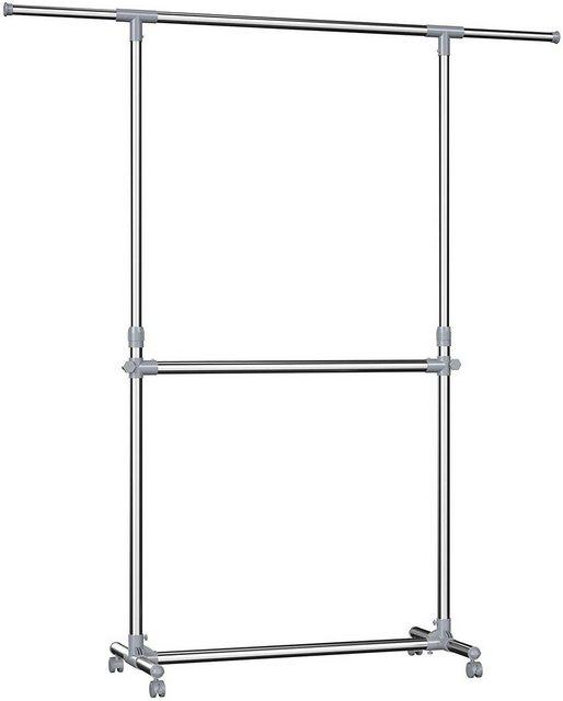 Kleiderständer und Garderobenständer - SONGMICS Kleiderständer »LLR401«, Kleiderständer höhenverstellbar, Garderobenständer, ausziehbare Kleiderstange, zusätzliche Stange im mittleren Bereich, (101 166) x 49 x (113 198) cm  - Onlineshop OTTO