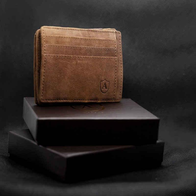 Alcube Geldbörse »Magic Wallet I Das Original NUBUKLEDER«, Elegantem Design I RFID Geldbeutel für Herren & Damen aus 100% echtem Leder NUBUCK mit Platz für 8 Karten und Münzfach, Mini Geldbörse als Geschenk für Männer