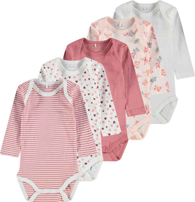 Name It Langarmbody »BUTTERFLIES AND HEARTS« (5-tlg., 5er-Pack)