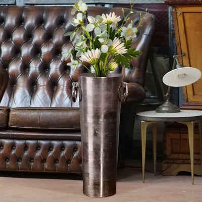 baario Bodenvase »Bodenvase SHANI«, 83cm hoch groß Aluminium silber XXL Dekovase Antik-Design