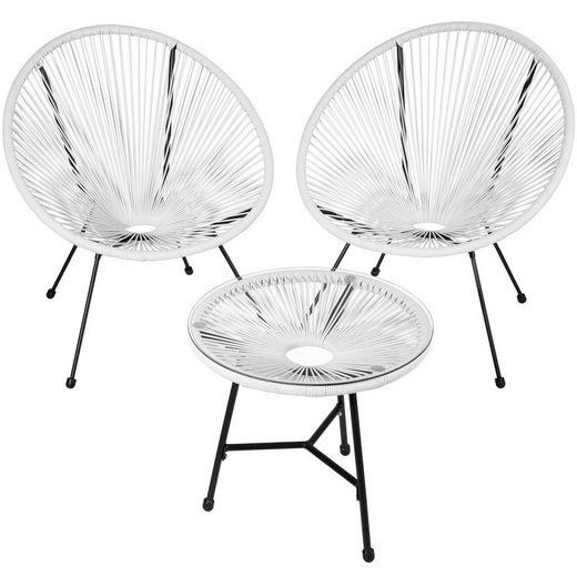 tectake Gartenmöbelset »2 Gartenstühle Gabriella mit Tisch«, (3-tlg., Set aus Stühlen und Esstisch)