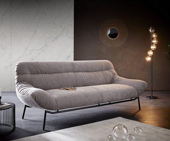 DELIFE 3-Sitzer »Shape«, Low Steingrau 225x95 Metallsockel by ES brand