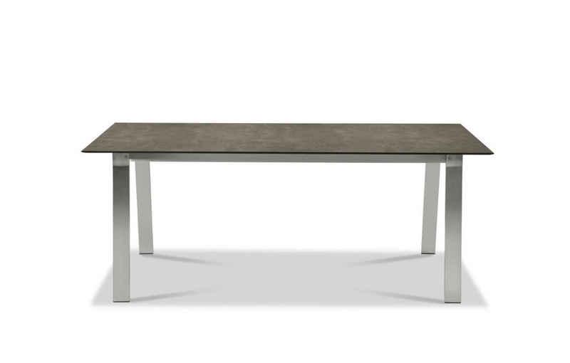 Musterring Gartentisch, Tisch Belgien 200x95 / 76 cm Metallfarben Beton